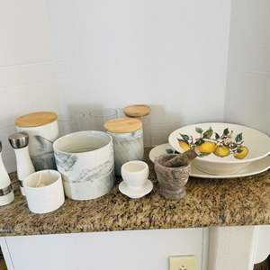 Lot # 44- Kitchen Cannisters, Dishes & More