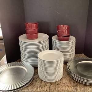 Lot # 50- White Dinnerware & Silver Chargers