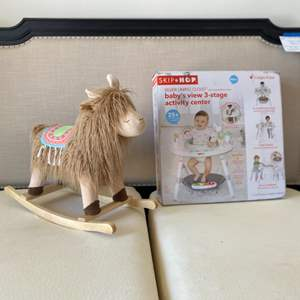 """Lot # 64-New Rocking Horse """"Lama"""" with New In Box Activity Center"""