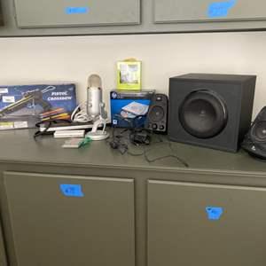Lot # 82-Blue Yeti USB Mic+ hp Writer, Logitech THX 2.1 Speaker, and More!