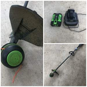 Lot # 118-Ego electric weed whacker. Only used a few times. One battery