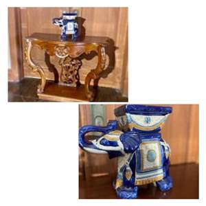 Lot # 1-Amazing Detailed Vintage Entry Way Table with Vintage Chinese Blue Elephant Planter