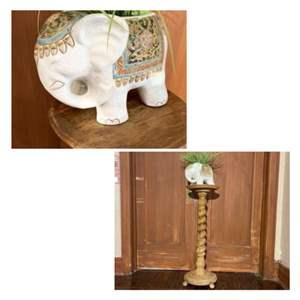 Lot # 3- Bombay Style Elephant on Vintage Oak Stand