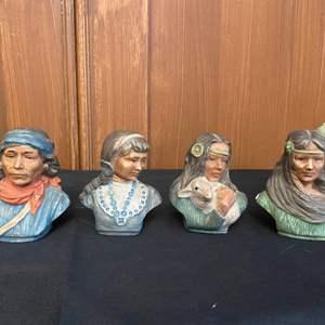 Lot # 6- Spanish Decor, Vintage Folk Art Paper Mache Corn Leaf Figures, Paiute Pals, Indian Bust Figures, Missions, and More!