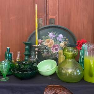 Lot # 7-Green Glass Collectibles and More!