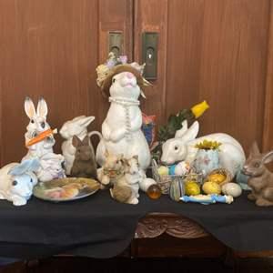 Lot # 9- Bunny Decor- Bunnies and Easter Eggs
