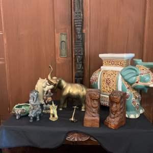 Lot # 11-Safari Decor, Including Chinoiserie Ceramic Elephant Stool or Planter, or Even a Table