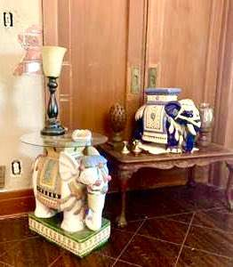 Lot # 15-Pair of Chinoiserie Ceramic Elephants with Vintage Coffee Table