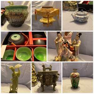 Lot # 19-Lovely Asian Collections, Possible Jade Carving,Vase made in Germany , Tea Pot made in England, and More.
