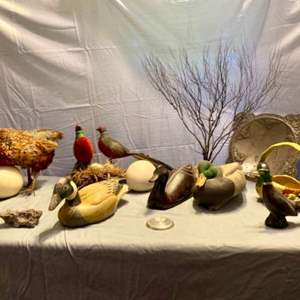 Lot # 20-Large Duck/Bird Lot- Including a Taxidermy and an Avon Decanter