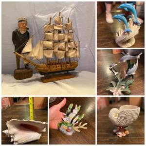 Lot # 21-Ocean Decor, Princess House with Candle, Wooden Captain with Ship, and More