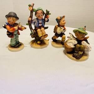 """Lot # 27- Set of 4 Goebel Hummels- Including RARE """"Little Fiddler"""" Figurine"""