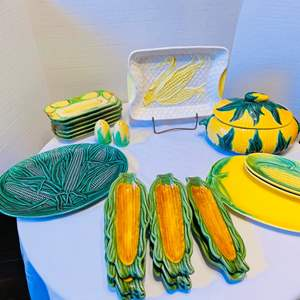 Lot # 38- HUGE Lot of Corn-Themed Pottery Pieces, Some Made in Japan! Sylvan, Vallona Starr, and Royal Haeger pottery