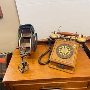 Lot # 42- Vintage Tricycle Rickshaw + Vintage Thomas Collector's Edition Antique Replica Phone