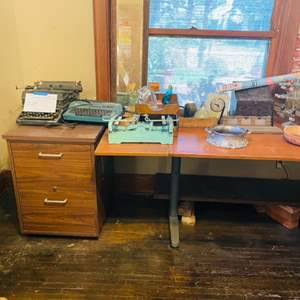 Lot # 47- Wooden Desk with Metal Legs and File Cabinet