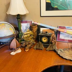 Lot # 49- Vintage Office Decor Including Globe, Bookends and More