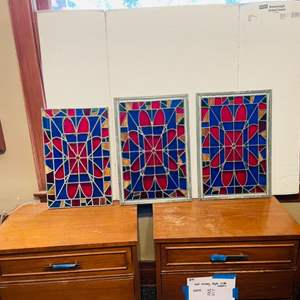 Lot # 50- Beautiful 3-Piece Stained Glass Set