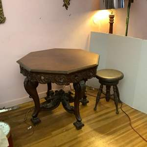 Lot # 59- Antique Wood-Carved Table
