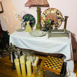 Lot # 61- Silver Serving Dishes, Chess Board + More