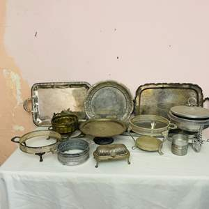 Lot # 62- Vintage Silver Plated Trays, Antique Butter Dish + More