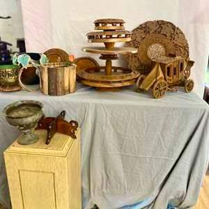 Lot # 73- Beautiful Wooden Serving Tray & More!