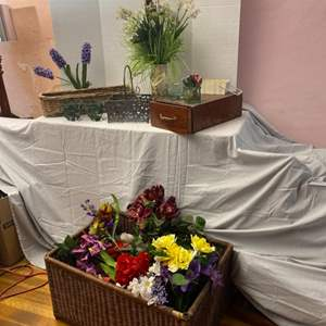 Lot # 76- Beautiful Floral Arrangements and Wicker Baskets