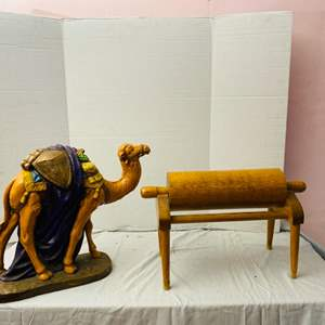 Lot # 78-Vintage Camel Statue with Wooden Rolling Pin Decor (Heavy Items)
