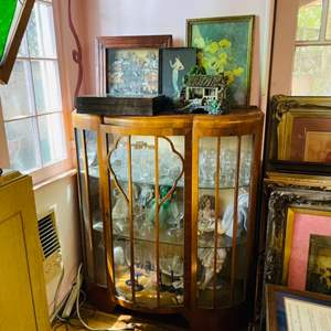Lot # 79-Antique Curio Cabinet- Contents Included