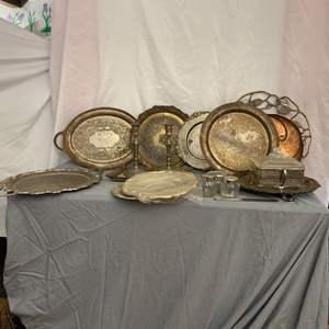 Lot # 82- Vintage Metal Serving Platters