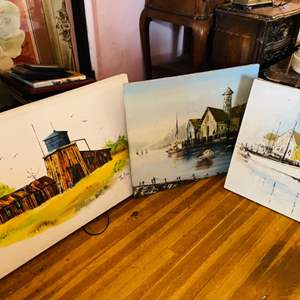 Lot # 87- Beautiful, Vintage Art- Including Oil on Canvas Paintings