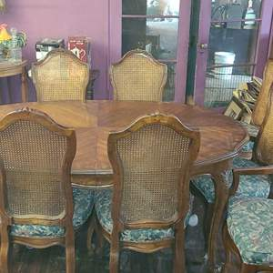 Lot # 104- Beautiful Vintage Dining Table with 2 Extensions + 8 Chairs
