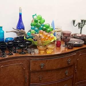 Lot # 107- Vereco Vintage Color Glass Tableware Set & More