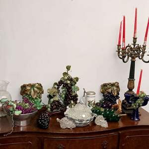 Lot # 109- Vintage Grape Decor- Sconces, Candelabra + More