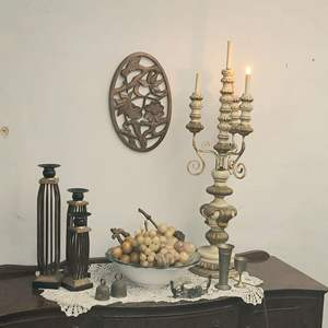 Lot # 110- Beautiful Art Deco Lot with Neutral Colors- Includes Candelabra