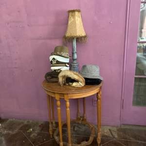 Lot # 117- Antique Detailed Wood Table + Extras