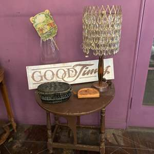 Lot # 118- Antique Side Table, Lamp + More