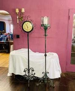 Lot # 121- Tall Iron Clock + More