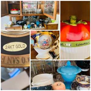 Lot # 123- Hutch Contents-24k Gold tea Cup/ Saucer Glassware & More