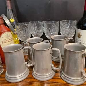 Lot # 126- Pewter Mugs & Wine Glasses