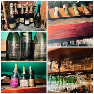 Lot # 131-Wine Glasses + Bonus Bottles in Wine Attic