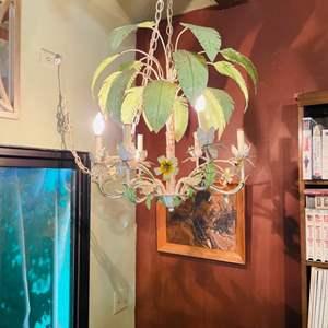 Lot # 142-Unique Palm + Flower Chandelier