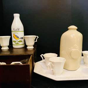 Lot # 146-White Collectible Dishes: Platter, Vintage Milk Glass Bottle, Tea Cups and more