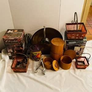 Lot # 149- Fondue Set, Cappuccino Maker, Wood Cannisters & More