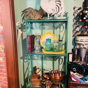 Lot # 154- Brass Kitchenware + Other Decor (contents of shelves)