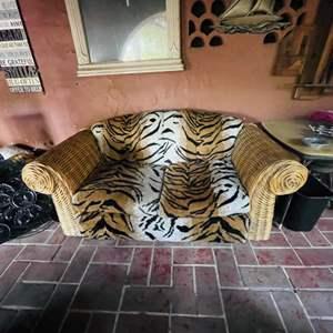 Lot # 160-Rattan, Animal Print Loveseat, Outdoor Furniture