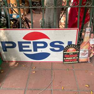 Lot # 163-Collectible Metal Signs. Pepsi and Miller