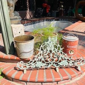Lot # 175-Vintage Metal Igloo Cooler, Vintage bucket, Outdoor Decor, and More