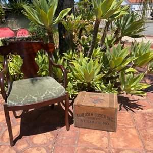 Lot # 200-Vintage Chair and Budweiser Centennial Case Full of Bottles