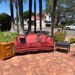 Lot # 202-Victorian Era Couch with Vintage Furnishings