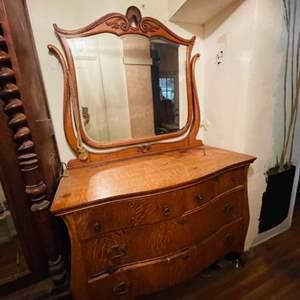 Lot # 212-Antique Dresser with Mirror